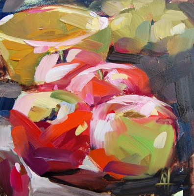 Angela Moulton. Apples and lemons on the counter