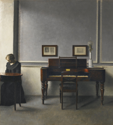 Vilhelm Hammershøi. Ida in the interior of the piano