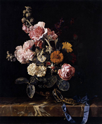 Willem van Aelst. Still life with flowers and clock on the table
