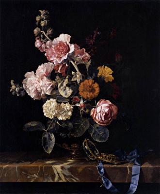 Виллем ван Алст. Натюрморт с цветами и часами на столе