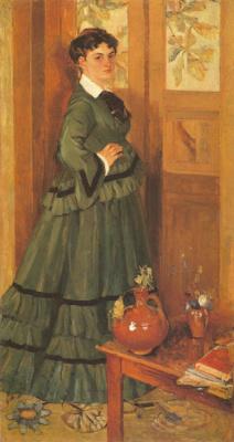 Fedor Grigorievich Krichevsky. Portrait of Lydia Staritskaya in a green dress