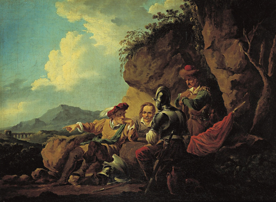 Alexander Osipovich Orel. Four soldiers sitting under a rock
