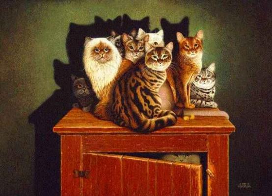 Коты на тумбочке