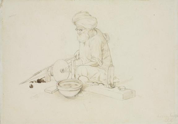 Джон Локвуд Киплинг. Мужчина в тюрбане, работающий с мрамором