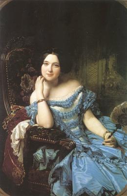 Кунц. Девушка в синем платье с веером