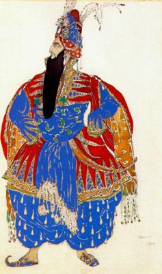 Lev Samoilovich Bakst (Leon Bakst). Costume design for the ballet Scheherazade - Shah Shahriar