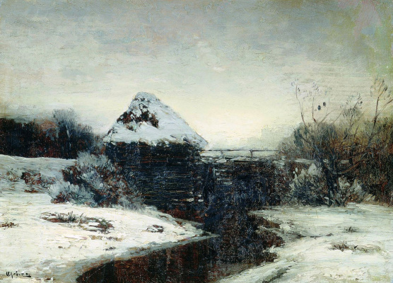 Isaac Levitan. Winter landscape with a mill