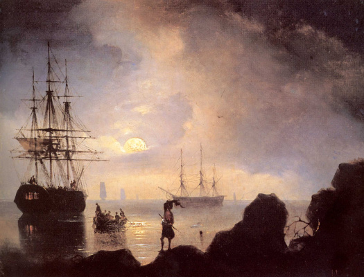 Ivan Aivazovsky. Night. Smugglers