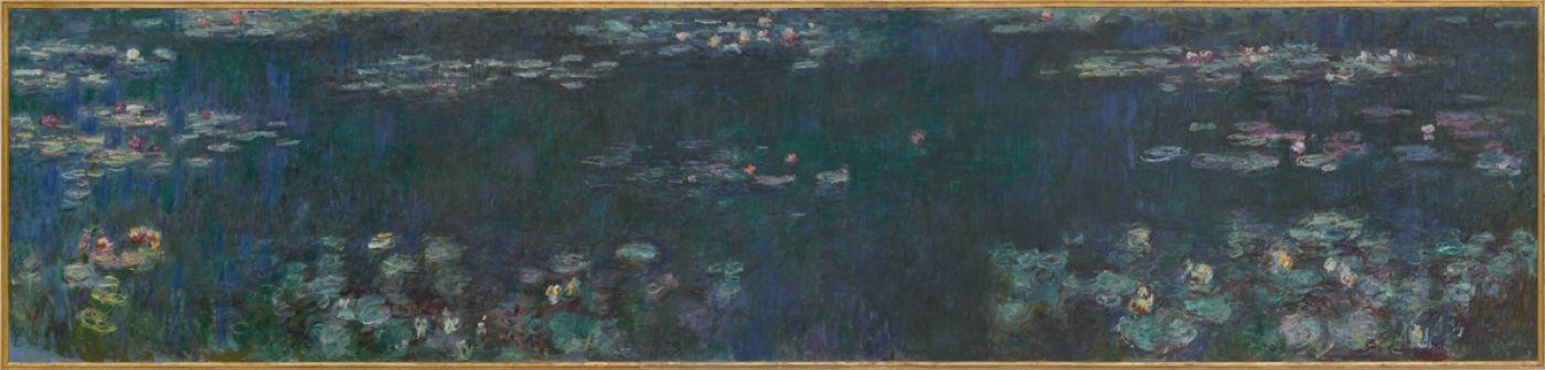 Claude Monet. Water lilies green reflection