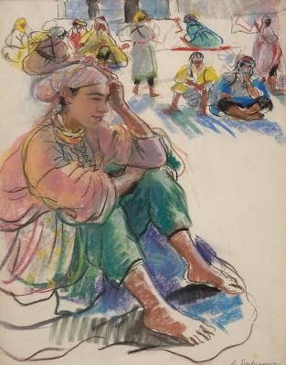 Zinaida Serebryakova. A Moroccan woman sitting in the square in Marrakech