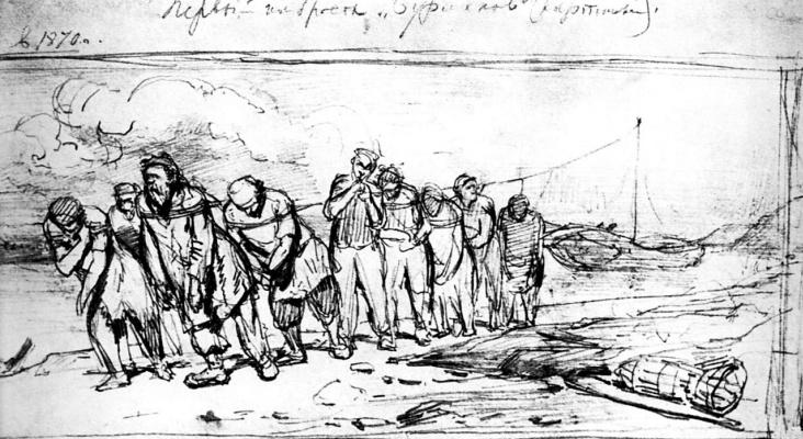 Ilya Efimovich Repin. Barge haulers on the Volga. Sketch