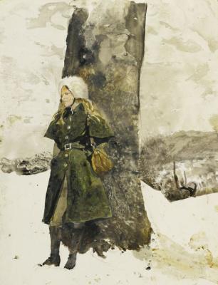 Andrew Wyeth. In the garden (Helga in the garden)