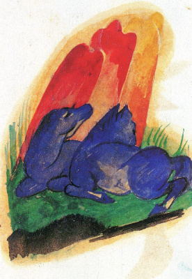 Franz Marc. Two horses red cliff