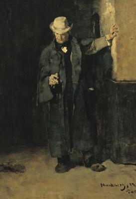 """Михай Либ Мункачи. Мужчина в плаще. Эскиз для картины """"В ломбарде"""""""