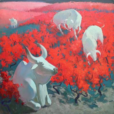 Феодосий Николаевич Северин. Белые быки на красных виноградниках
