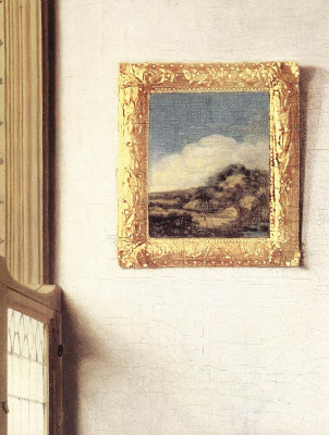 Jan Vermeer. The lady standing at virginal. Fragment