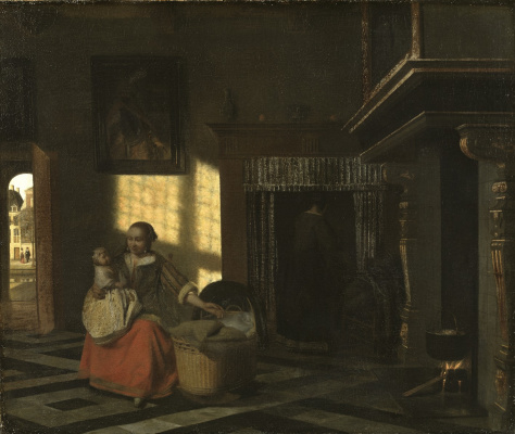 Pieter de Hooch. Interior with a mother at the cradle