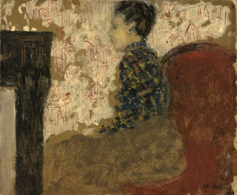Jean Edouard Vuillard. Woman sitting by the fireplace