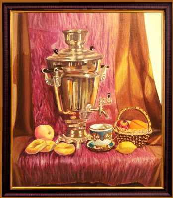 Ekaterina Kabanova. Still life with a samovar from nature
