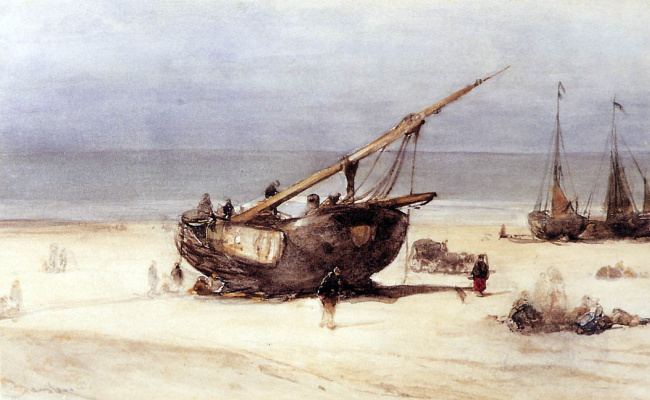 Корабли на пляже Схевенингена
