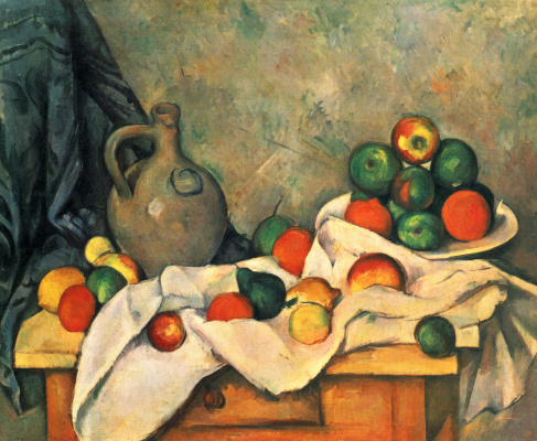 Paul Cezanne. Still life with drapery, pitcher and vase for fruits