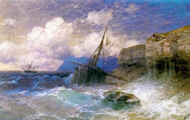 Ivan Aivazovsky. The storm at coast of Odessa