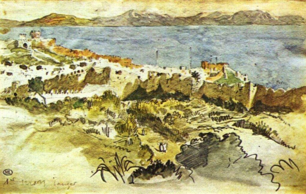 Eugene Delacroix. Bay of Tangier in Morocco
