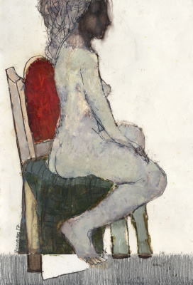 Igor Nikolaevich Ermolaev. Light sits on a chair with a red back