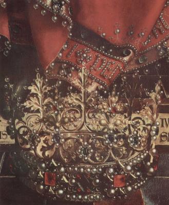 Губерт ван Эйк. Гентский алтарь. Бог–Отец на троне. Деталь: корона и одеяние