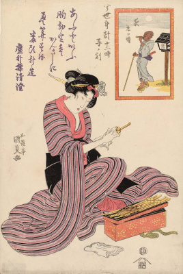 "Utagawa Kunisada. Hour Of The Rat. The ninth hour of the evening. Series ""12 o'clock modern watch face"""