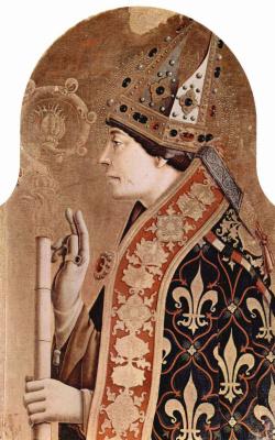 Карло Кривелли. Святой Людовик Тулузский. Алтарный полиптих церкви Сан Франческо в Монтефиоре дель Азо, правое внешнее навершие
