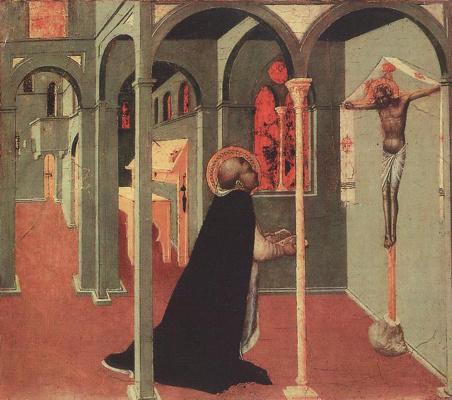 Сассетта. Святой Фома молящийся перед крестом