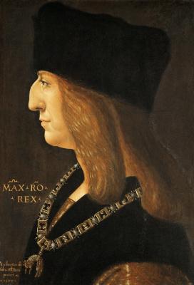 Giovanni Ambrogio de Predis. Portrait of Maximilian I, Holy Roman Emperor