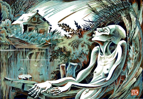 """Vladimir Kataev. """"Birthday Komar-3"""", X3/M, A/R, 45 X 65 cm, 2015"""
