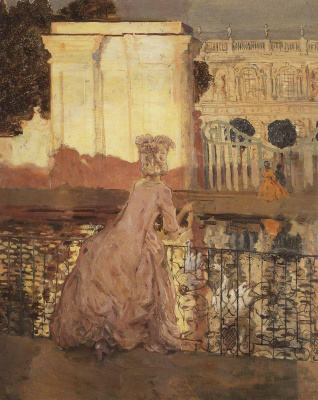 Constantin Somov. Lady by the pond