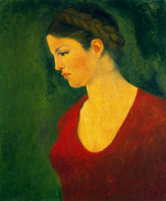 Aristide Mayol. Girl in red (Portrait of Dina Vierny)