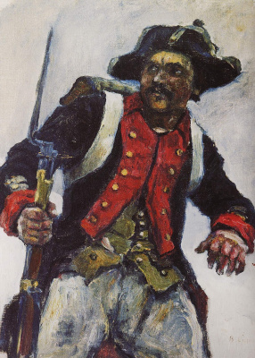 """Vasily Ivanovich Surikov. Soldier with a gun. A sketch for the painting """"Suvorov crossing the Alps"""""""