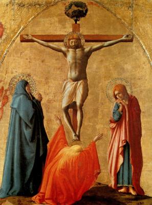 Tommaso Masaccio. Crucifixion of Christ. Polyptych panel for Church of Santa Maria del Carmine in Pisa