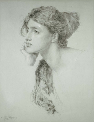 Anthony Frederick Augustus Sandys. Portrait of a young woman (Pensive)