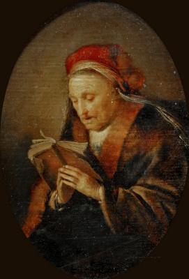 Gerrit (Gerard) Dow. The old woman at prayer