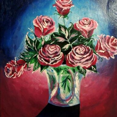 Natalia Anatolyevna Leisure. Roses in a vase.
