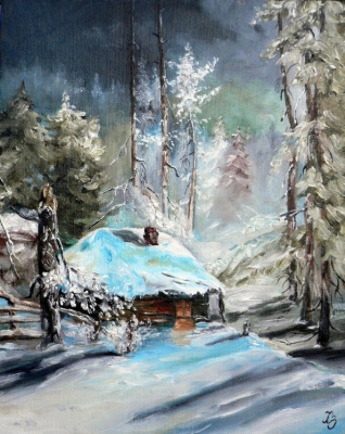 Сергей Николаевич Ходоренко-Затонский. House in winter forest