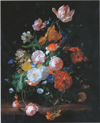 Rachelle Ruysch. Roses, tulips and other flowers in a glass vase on a marble shelf