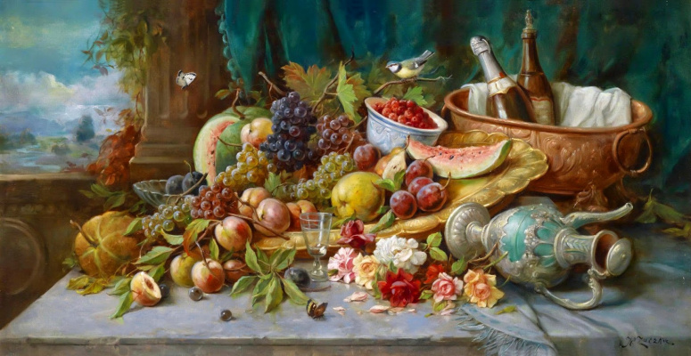 Ханс Зацка. Большой натюрморт с фруктами.