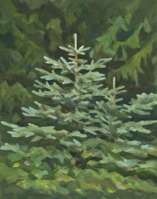 Andrei Ivanovich Borisov. Blue Christmas trees