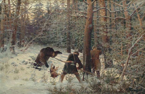 Eugene Alexandrovich Tikhmenev. Bear hunting. 1890