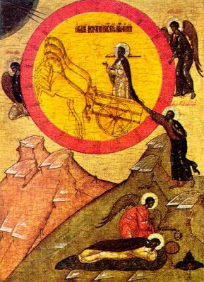 Icon Painting. Elijah climbing
