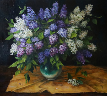 Tatyana Chepkasova. Lilac on a dark background