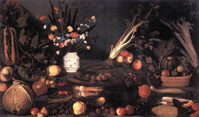 Michelangelo Merisi de Caravaggio. Still life with flowers and fruit