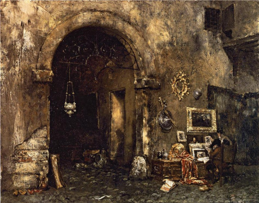 William Merritt Chase. Antique shop